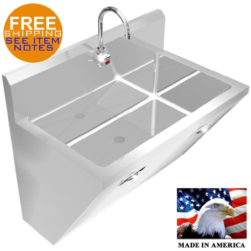 SURGEON'S HAND SINK 1 STATION 36'' SD STAINLESS STEEL HANDS FREE MADE IN AMERICA by BSM