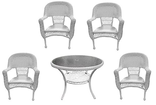 LB International 5-Piece White Resin Wicker Patio Dining Set - Table and 4 Chairs (Resin Wicker Dining Chairs)