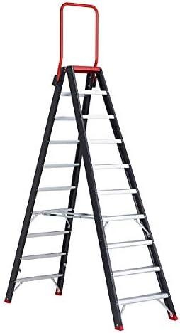 Escalera de seguridad, ambos lados, 2 x 8 peldaños – Seguridad pie escalera Estantería Escalera de aluminio escalera Almacenamiento Escaleras de aluminio HYMER – Escalera – Escaleras de aluminio Nivel Escaleras Seguridad