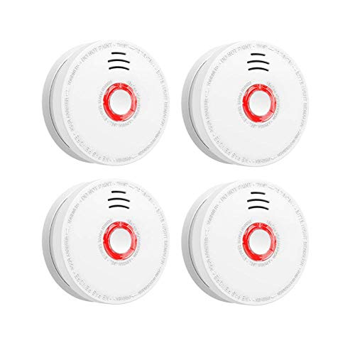 - Smoke and Fire Detector, 4 Pack Photoelectric Battery Operated Smoke Alarm Easy to Install with Light and Sound Warning, 9V Battery Included, UL Certification,Fire Safety for Home Hotel School
