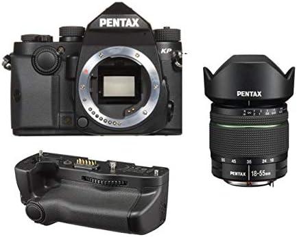 Pentax KP 24.32 Ultra-Compact Weatherproof DSLR Camera (Black) with Pentax DA 18-55mm f/3.5-5.6 AL WR Zoom Lens and Pentax D-BG7 Battery Grip