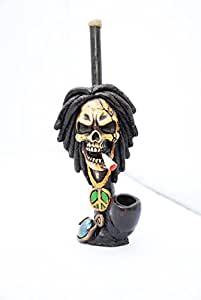 JCUNIVERSAL® - Handmade Tobacco Smoking Pipe Bob Marley Stype Smoking Skull Design