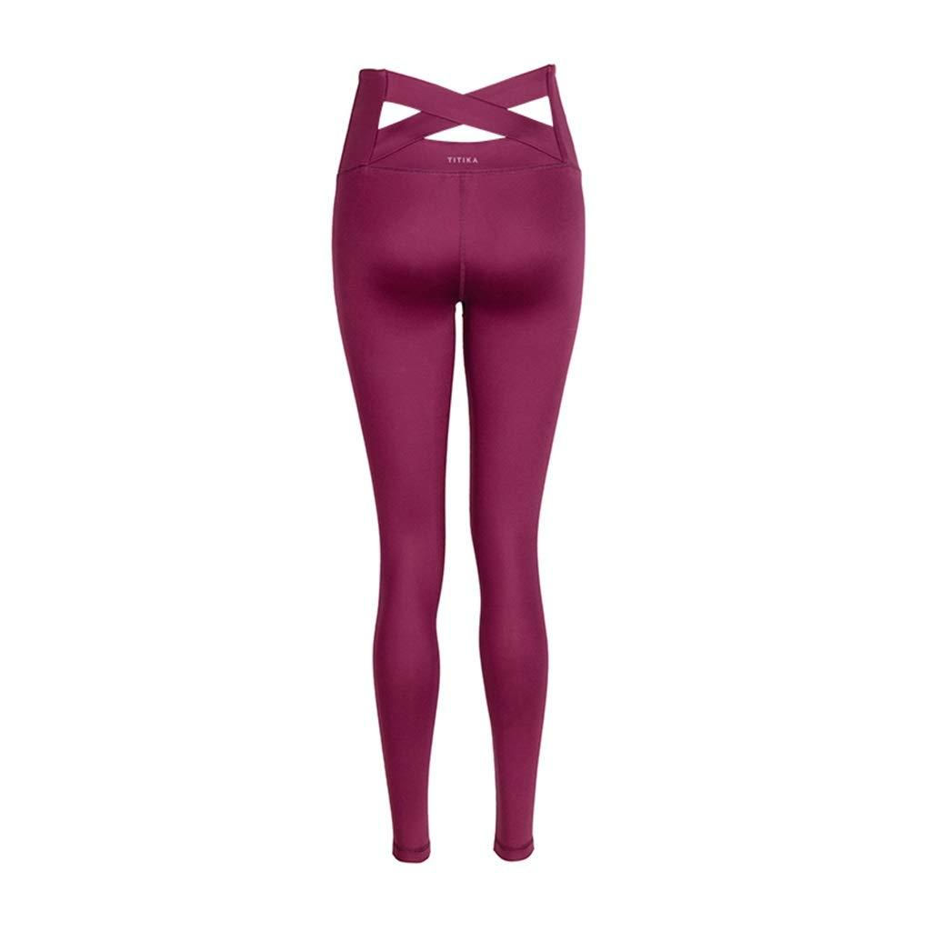 rouge petit Pantalons de sport Pantalons De Yoga, Collants Taille Haute VêteHommests De Yoga Pantalons Taille Haute pour Printemps Et été Pantalons Ventre Leggings (Couleur   rouge, Taille   L)