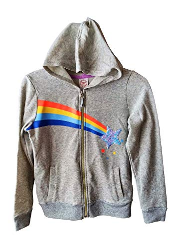 (Girls Grey Zip Hoodie with Rainbow and Flippy Sequins (Large 10/12))