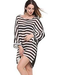 Naggoo Women's Oversized Striped Chiffon Bikini Swimwear Cover Up Beachwear