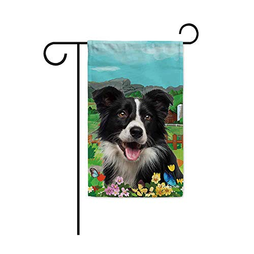 BAGEYOU Welcome Spring Summer Border Collie in The Flowers Decorative Garden Flag Cute Dog Puppy Butterflies Farm Country Village Home Decor Banner for Outside 12.5X18 Inch Print Double ()