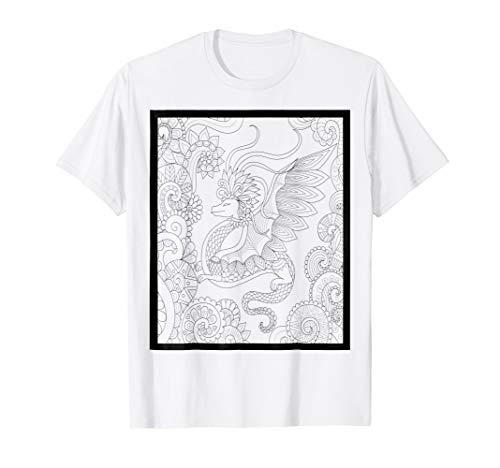 Adult Coloring Page Dragon DIY Self Coloring T-shirt