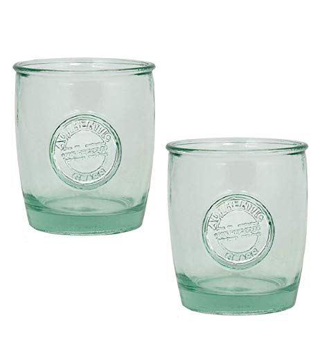 Authentic 100% Recycled Glass Drinking Cup with Embossed Authentic Seal, 14 ounce (Pack of - Recycled Glass Green