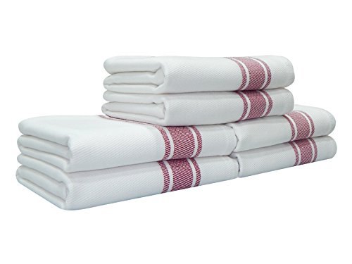 - Kitchen Towels,100% Natural Cotton, 6 Pack, 27 x 17 inch, White with Red Stripe, Absorbent & Quick Dry Tea towels, Value Pack of Dish Cloth Towels by Tiny Break