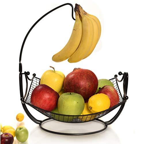 Fruit Basket + Detachable Banana holder, Elegant Fruit Bowl with Banana Tree Hanger, Black or Chrome for the classic look (black) (Classic Fruit Bowl)
