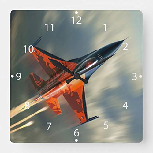 (TattyaKoushi 15 by 15-Inch Wall Clock, Fighter Jet Military Airplane Speed Square Wall Clock Living Room Clock, Home Decor)