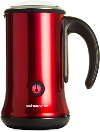 Andrew James Red Dual Function Electric Milk Frother And Warmer For Hot And Cold Milk - Includes 2 Year Warranty