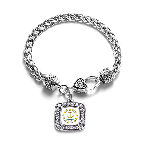 Inspired Silver - Rhode Island Flag Braided Bracelet for Women - Silver Square Charm Bracelet with Cubic Zirconia Jewelry