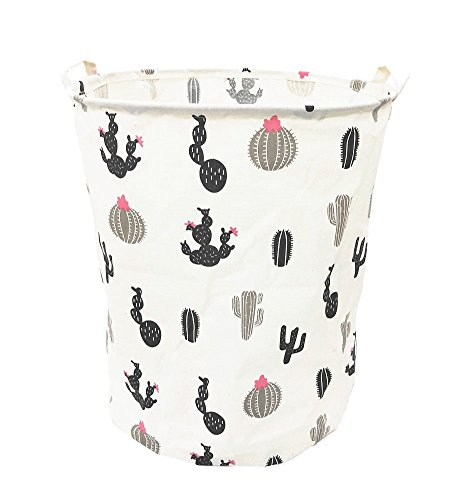 TIBAOLOVER 19.7 Large Sized Waterproof Foldable Canvas Laundry Hamper Bucket with Handles for Storage Bin,Kids Room,Home Organizer,Nursery Storage,Baby Hamper with Stylish Cactus Design(Black)