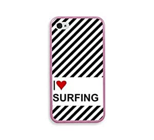 Love Heart Surfing Pink Silcon Pink Bumper iPhone 4 Case Fits iPhone 4 & iPhone 4S