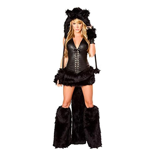 Drasawee Women Furry Black Cat Figure Halloween Costume Demon Outfit (Sexy Demon Costume)