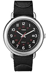 Timex Unisex Camper Black INDIGLO Dial Brass Case Nylon & Leather Strap Watch T2N783