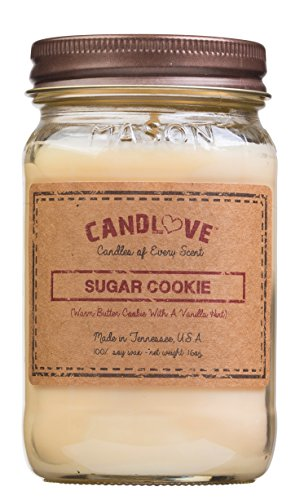 Sugar Cookie Soy Candle (CANDLOVE Sugar Cookie Scented Candle 16 Oz Mason Jar - 100% Soy - Made In The USA)