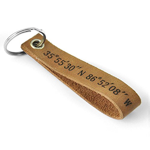 Custom Leather Keychain Coordinates Keychain Personalized Key