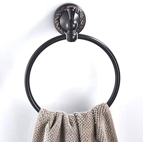 タオル掛け アンティークブラックタオルリングレトロヴィンテージ浴室タオルリング高級真鍮タオル掛け壁掛け伝統的な古典的なヨーロッパ/米国スタイルのラウンドタオルホルダー タオルハンガー (Color : A, Size : One Size)