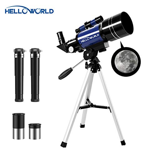 World Optical Telescope 70mm Refractor Astronomical Telescopes for Adults Astronomy Beginners with Tripod & Finder Scope Portable Telescope for Kids Travel Scope with Four Magnification - Tabletop Tripod Telescope