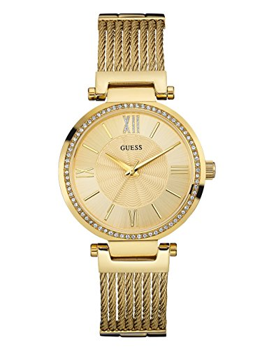 GUESS  Gold-Tone Stainless Steel Crystal Bangle Bracelet Watch with Self-Adjustable Links. Color: Gold-Tone (Model: ()