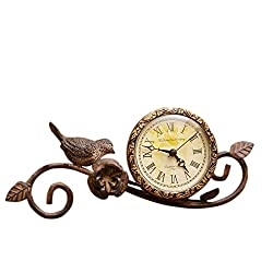 Your Heart's Delight Your 4 x 11 x 4.5 Mantle Antique Clock with Birds and Flowers for Tabletop
