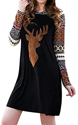 For G and PL Women's Christmas Reindeer Long Sleeves Hoodie Dress