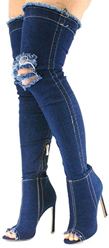 Womens Denim Stiletto Over Knee Boots Shoes Peep Toe Thigh High Ladies Sexy Heel Dark Blue Denim 4SY4ohkiuv