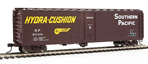 50' PC&F Insulated Boxcar - Ready to Run -- Southern Pacific(TM) #671184 (Boxcar Red, yellow Hydra Cushion Markings) - Ho Southern Pacific Boxcar