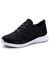 KONHILL Women's Lightweight Sneakers Gold Threads Casual Athletic Sport Walking Running Shoes