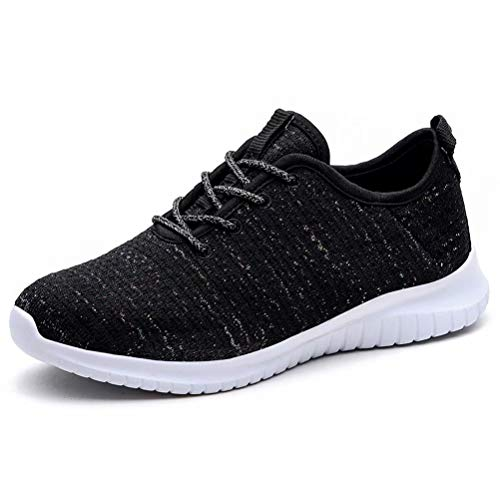 KONHILL Women's Comfortable Running Shoes - Gold Threads Casual Athletic Sport Walking Sneakers, Black, 42