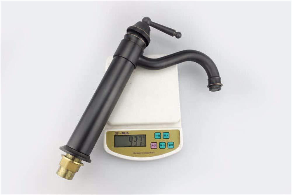 QWL-Faucet Negro Que realza el Gran Lavabo Curvo Mezclador de de de Agua fría y Caliente Grifo de un Solo Orificio Sola manija, Negro Grifo de Lavabo baño Grifo del Fregadero 868484