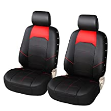 PU Leather Car Seat Covers Fashion Low Back Front Bucket Seat Covers with Organizer Storage Bags Universal Fit for Car, Truck, SUV Auto Seat Protectors¨C AUTOYOUTH, 1 Pair, Black/Red