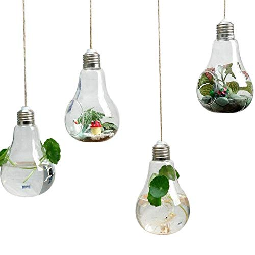 4Pcs Hanging Single Port Bulb Fish Tank Fer Plant Vase Hanging Glass Aquarium With Twine Aquarium Accessories For Decor   Clear, S