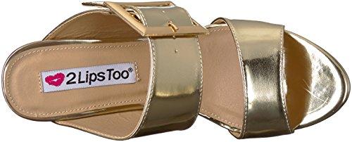 2 Anche Le Labbra Delle Donne Con Il Sandalo Col Tacco Sbiancato E Platino