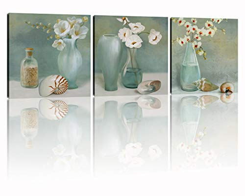 - NAN Wind 3 Piece White Floral & Conch Abstract Artwork on Canvas Prints White Cherry Floral in a Vase Pictures on Canvas Stretched and Framed for Home Wall Decor 12x12inch