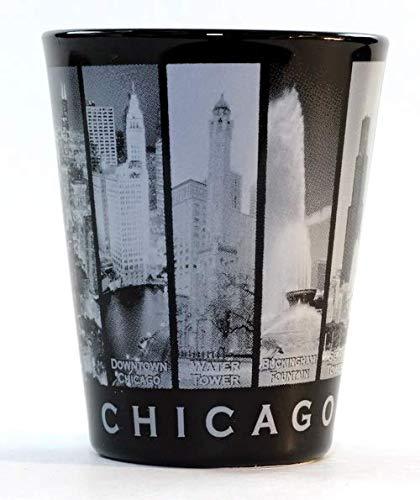 Chicago Illinois 9 Window B & W Skyline Shot Glass (Glasses Chicago Cheap)