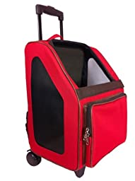 Petote Rio Pet Carrier Bag on Wheels, Tan Trim/Red