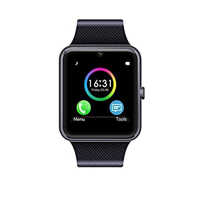 Cindy MSRM Smart Watch 1.54 Inch Support Android 4.2 or abouve and iPhone5s/6/6s/7/7s Remote Camera and Anti Lost (Black)