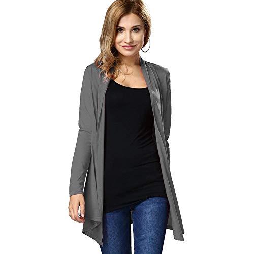 Saoye Fashion Femme Tricot Top Mode Casual Coat Printemps Automne Uni Manche Manches Longues Irrgulier Doux Vtements Outerwear Confortable Branch Manteau en Tricot Grau