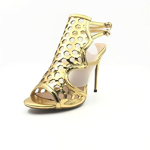 sexy chaussures Toe Mesdames talon or sandales Suite Parti Prom haut Peep du Femmes soir Nuptiale Gold GAIHU Mesdames Stiletto Taille nxzYYX