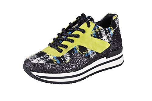 2Star Women's Shoes Black Textile Gold Sneaker 38 dqEFwnC