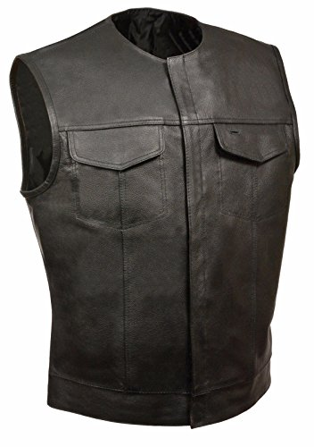 MEN'S SONS OF ANARCHY NO COLLAR LEATHER VEST WITH 2 GUN 2 CHEST POCKETS SINGLE BACK PANEL (L, BLACK)