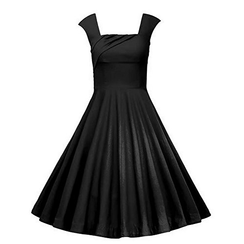 Rockabilly Schwarz DISSA Vintage EU Retro M1235 42 50er XL Kleid Cocktail Damen 18T8HqYw