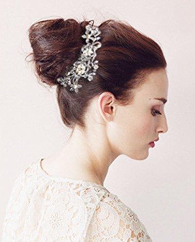 Yueton Pack Of 2 Bridal Wedding Silver Crystal Rhinestones Pearls Women Hair Comb