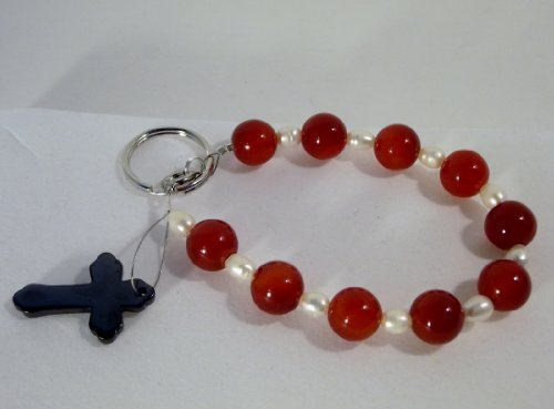 Gemstone Keychain (Red, 9 Inches), Bags Central
