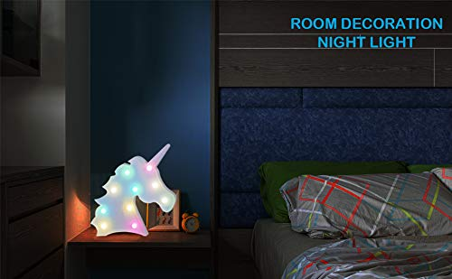 AIZESI Unicorn Marquee Light Night Light Wall Room Decor,Desk Table Lamp,Kids Gift for Birthday Xmas Colorful Unicorn… 10