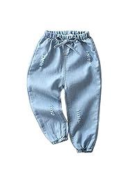 Lanhui Children Baby Boy Girl Cartoon Embroidery Denim Mosquito Pants Hole Denim Long Pants Elastic Waist Jeans Trousers