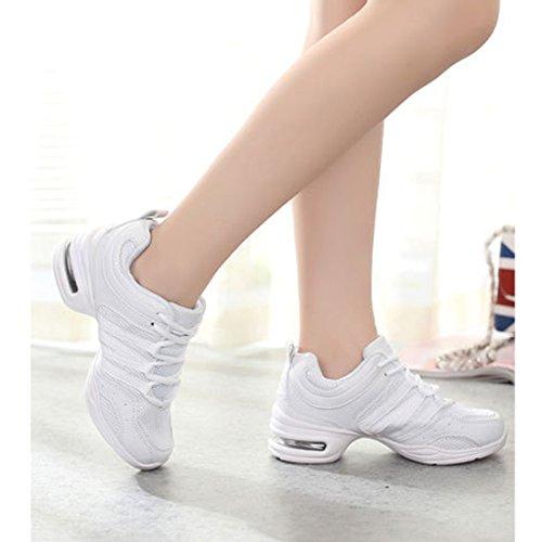 Dancesneaker up Gymnastik Tanzschuhe Lace Fitness Weiß Websneaker Training Damen Tanzsneaker Tanz YIBLBOX Mesh Sport Schuhe jazzdance Turnschuh qZp6nntFz